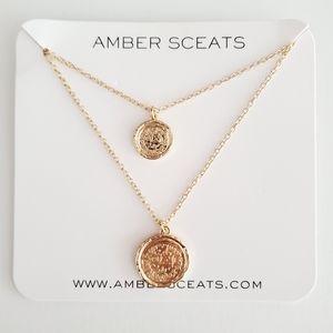 Amber Sceats Double Coin Necklace - Gold Plated